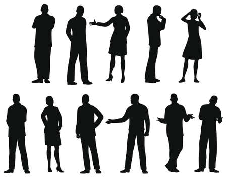 standing: businesspeople silhouette