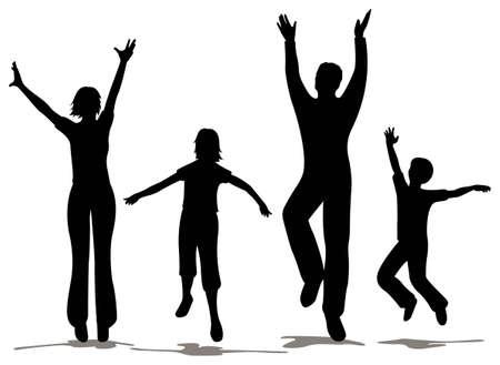 Happy gezins silhouet