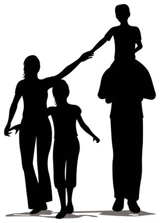 two parent family: family of four Illustration