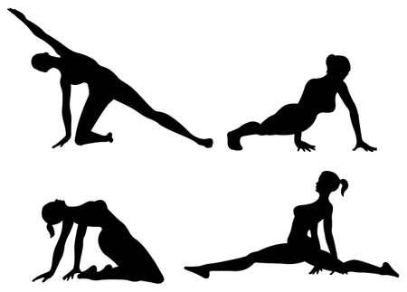 yoga woman silhouette Stock Vector - 6750893