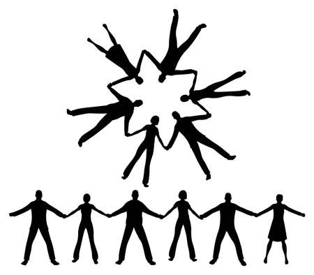 people in church: people together silhouette Illustration