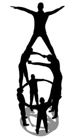 piramide humana: hombre de negocios en la parte superior de la pir�mide