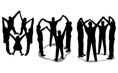 people circle silhouette Vector