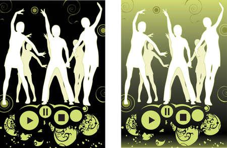 dance people silhouette Stock Vector - 6751034