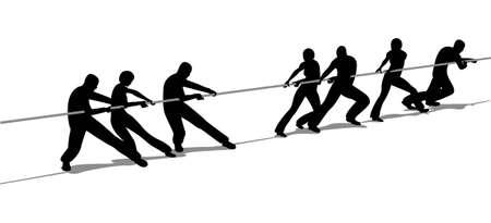 advantage: tug-of-war people silhouette