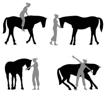 equestrian sport: horse woman silhouette Illustration