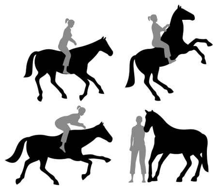 cola mujer: silueta de mujer de caballo