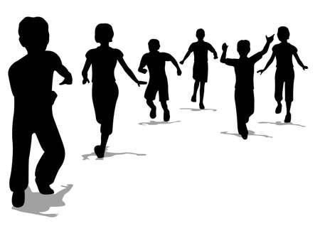 young teen: running children silhouette Illustration