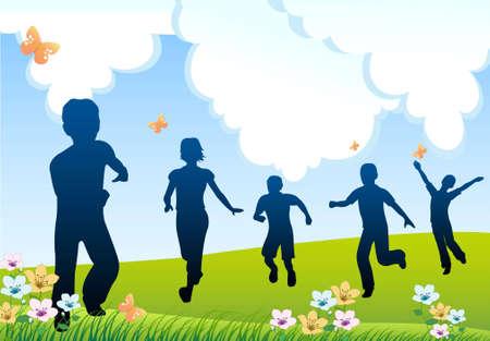 black youth: run children silhouette