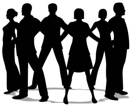 jovenes en grupo: silueta de c�rculo de personas