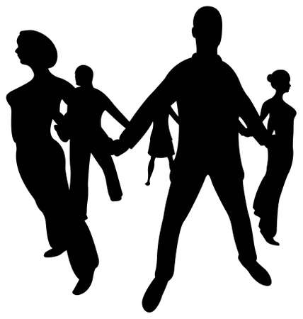 church group: people circle silhouette