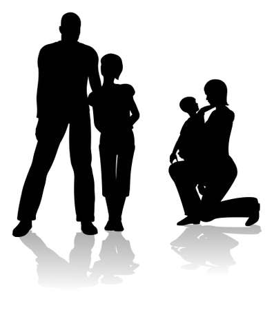 child sitting: parents with children silhouette