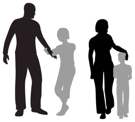 children parents silhouette Stock Vector - 6750894