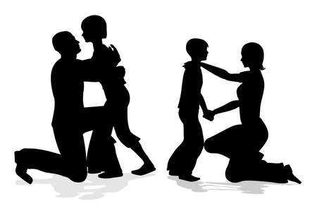 parents with children talking silhouette Vector