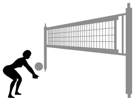volleyball woman silhouette Vector
