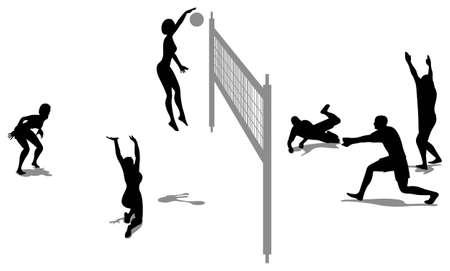 beach ball girl: volleyball game silhouette