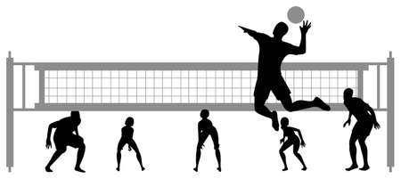 beach volley: volleyball game silhouette