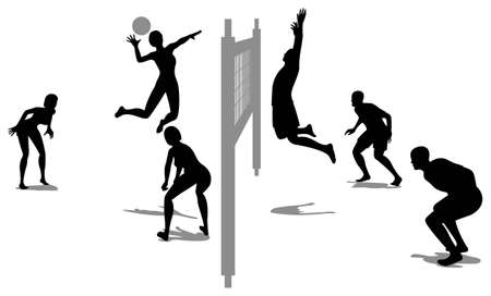 volleyball game silhouette Stock Vector - 6750971
