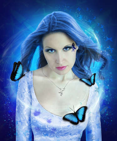 butterfly woman: night butterfly woman collage Stock Photo