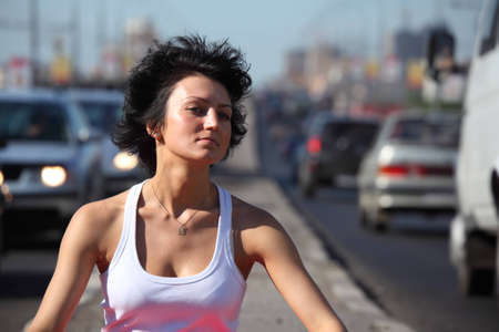 Portrait of girl on highway photo