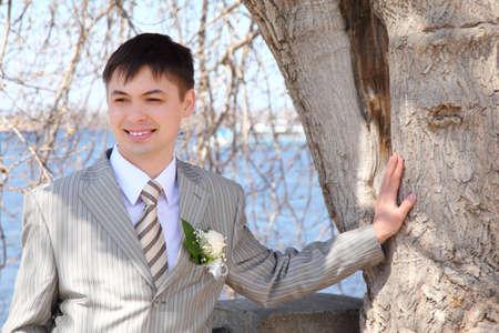 fiance: fiance at tree Stock Photo