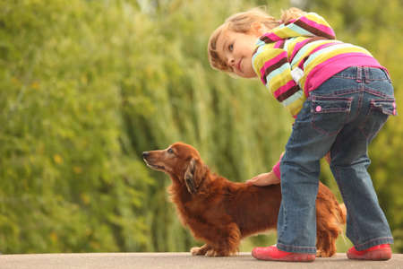 little girl  and her dachshund photo
