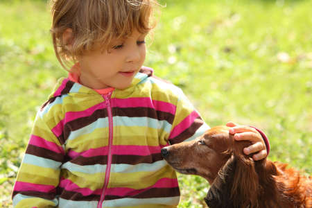 caress: little girl caress dachshund outdoor Stock Photo