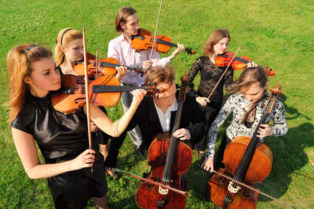 the symphony: Group of violinists play standing on grass