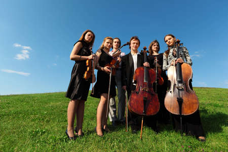 Six violinists stand on  grass against sky, wide angle Stock Photo - 7831576