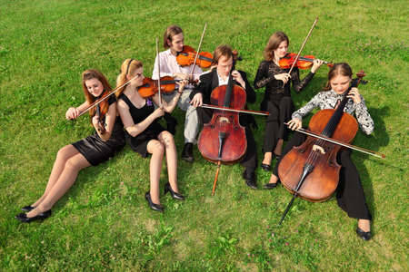 Six violinists sit semicircle on  grass and play Stock Photo - 7831526