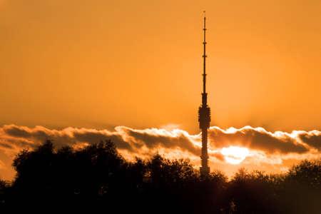 television tower Ostankino on sunset photo