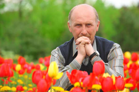 man sits on tulips field photo