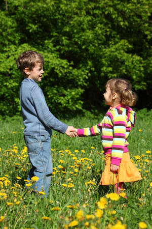 handclasp: boy and  girl handshaking among blossoming dandelions, focus on boy