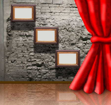 frames on brick wall and curtain collage photo