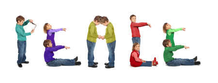 boy and girl makin word PEACE, collage Stock Photo - 7831540