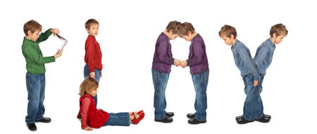 boy and girl making word PLAY, collage Stock Photo - 7831355