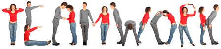 man and woman making word teamwork Stock Photo - 9774775