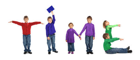 boy and girl making word TIME, collage Stock Photo - 7831336