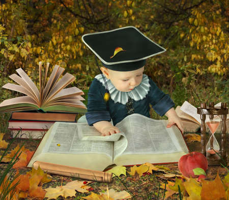vocabulary: little boy with many books in autumnal park collage