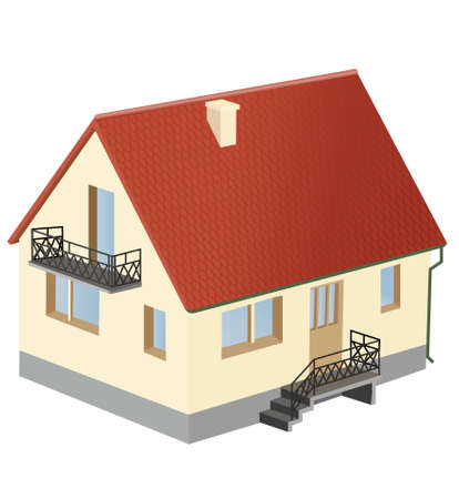 miniature: miniature house with red roof  Illustration