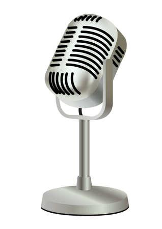 metal plastic old vintage microphone  Vector