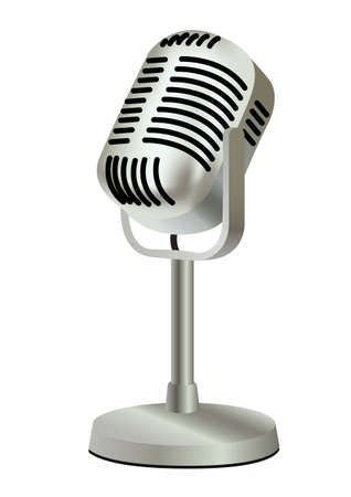 omroep: metalen kunststof oude vintage microfoon  Stock Illustratie