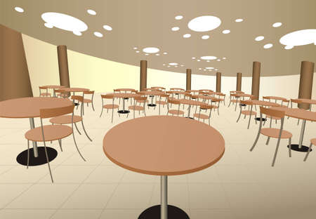 mall interior: food cort cafe with tables in mall interior