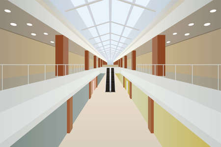 big shop two floor with escalator and glass roof trade center gallery interior  Vector