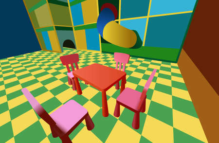 child room with labyrinth and table with chairs  Vector