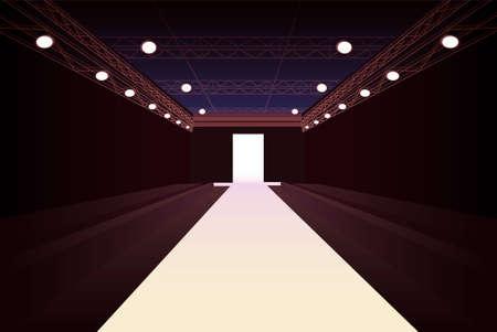 podium: empty fashion model podium with lights