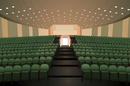 lecture theatre: empty conference auditorium with green chairs  Illustration