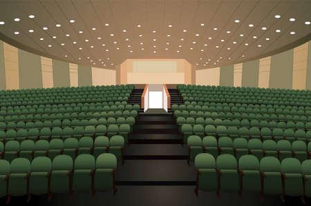 lege conferentie zaal met groene stoelen