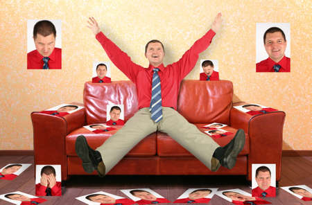 superiority: man on the leather red sofa with the photographs, collage
