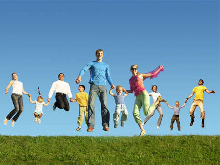jumping: Many jumping families on the grass, collage